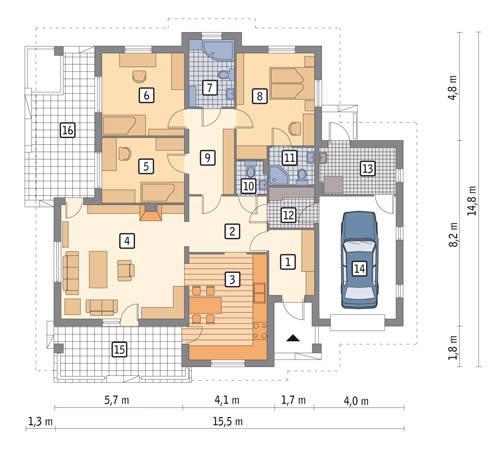 Rzut parteru POW. 142,3 m²