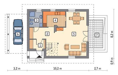 Rzut parteru: wariant 7 POW. 60,7 m²