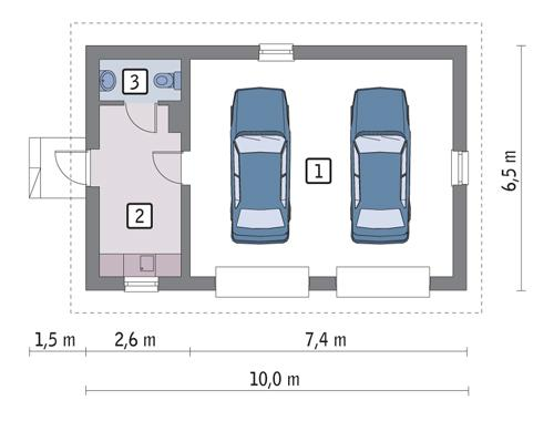 Rzut parteru POW. 51,3 m²