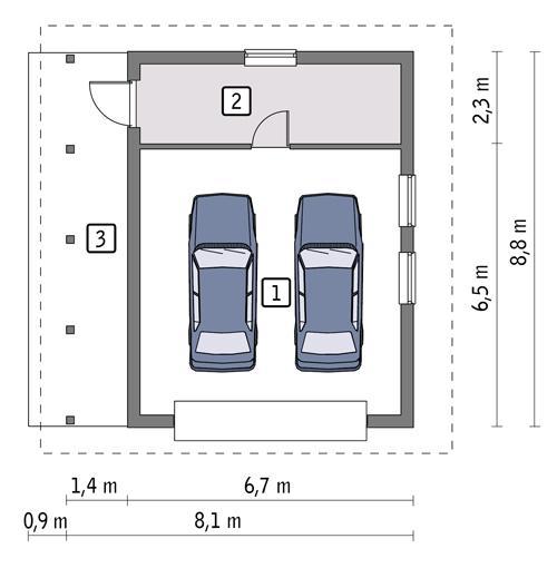 Rzut parteru POW. 48,1 m²