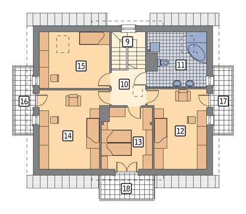 Rzut poddasza POW. 102,3 m²