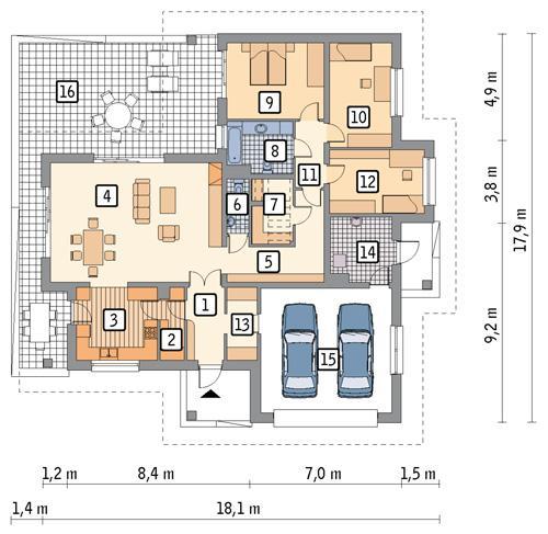 Rzut parteru POW. 180,5 m²