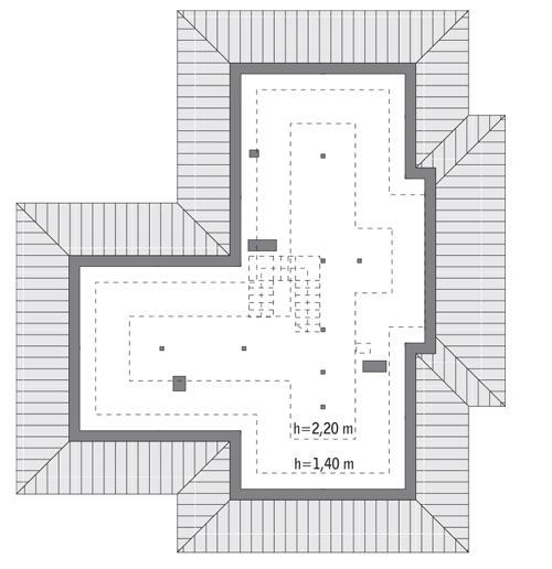Rzut poddasza: do indywidualnej adaptacji (89,3 m2 powierzchni użytkowej)