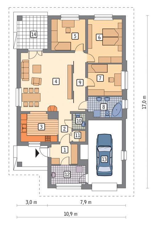 Rzut parteru POW. 125,2 m²