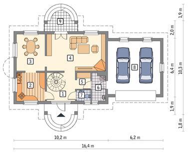 7. санузел.  Зеркальный вариант.  План первого этажа.  3. столовая.  9. террасa.